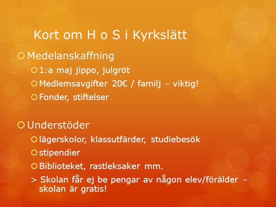 Kort om H o S i Kyrkslätt  Medelanskaffning  1:a maj jippo, julgröt  Medlemsavgifter 20€ / familj – viktig.