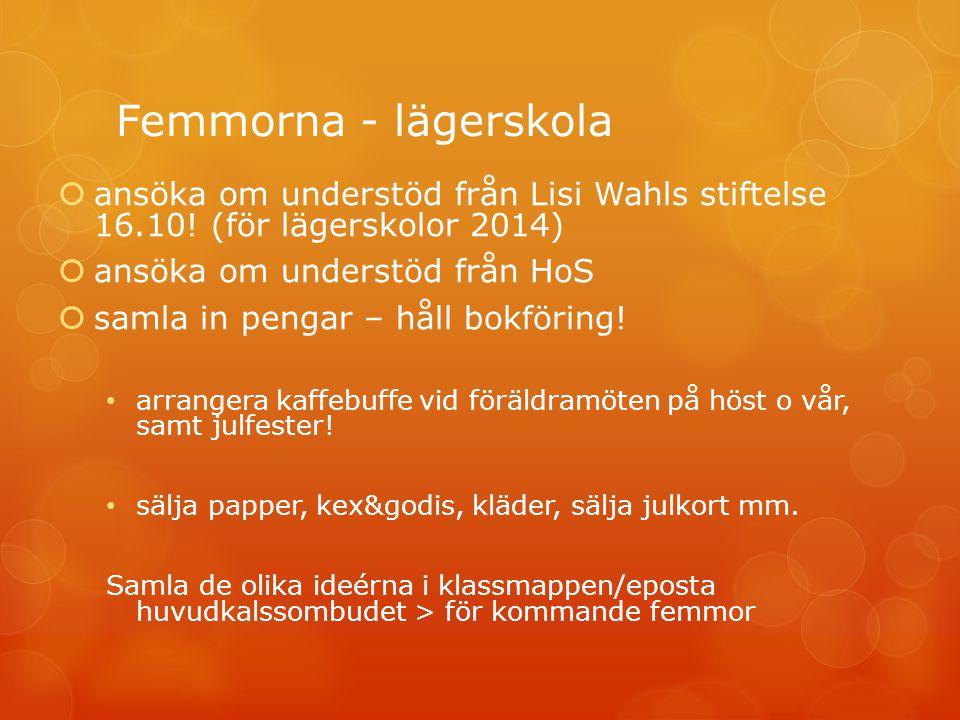 Femmorna - lägerskola  ansöka om understöd från Lisi Wahls stiftelse 16.10.
