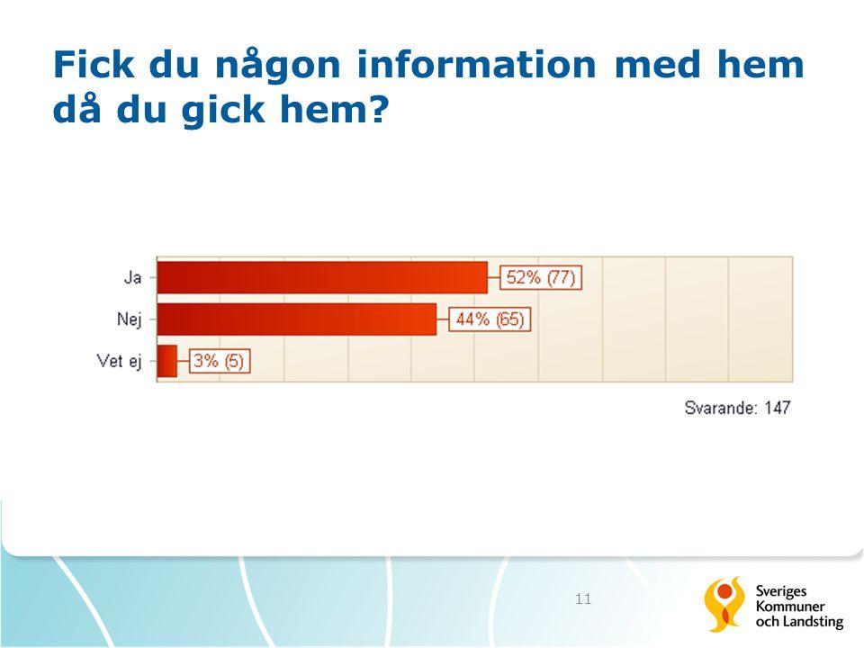 Fick du någon information med hem då du gick hem? 11