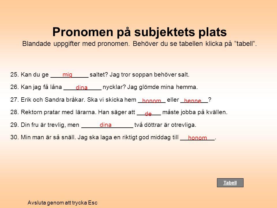 """Pronomen på subjektets plats Blandade uppgifter med pronomen. Behöver du se tabellen klicka på """"tabell"""". 25. Kan du ge ___________ saltet? Jag tror so"""
