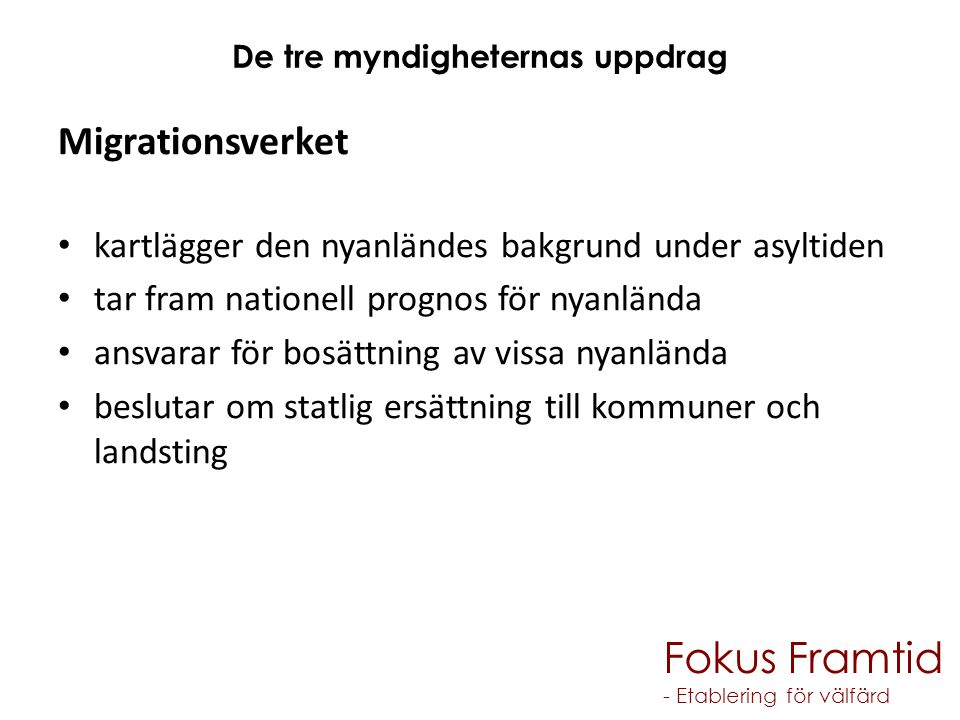 Fokus Framtid - Etablering för välfärd Totalt antal asylsökande 2011, 2012 och 2013