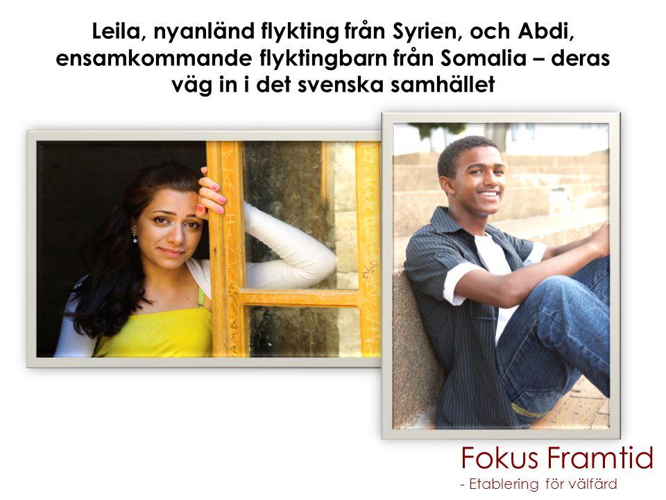 Leila, nyanländ flykting från Syrien, och Abdi, ensamkommande flyktingbarn från Somalia – deras väg in i det svenska samhället Fokus Framtid - Etablering för välfärd