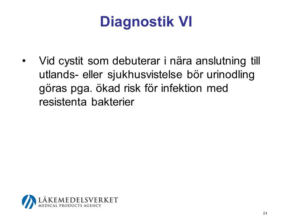 24 Diagnostik VI Vid cystit som debuterar i nära anslutning till utlands- eller sjukhusvistelse bör urinodling göras pga. ökad risk för infektion med