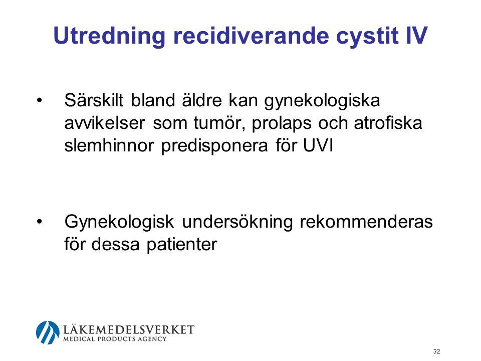 32 Utredning recidiverande cystit IV Särskilt bland äldre kan gynekologiska avvikelser som tumör, prolaps och atrofiska slemhinnor predisponera för UV