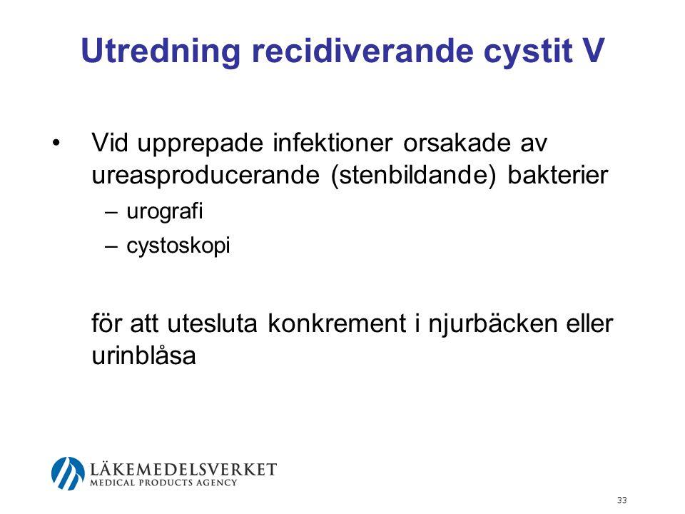 33 Utredning recidiverande cystit V Vid upprepade infektioner orsakade av ureasproducerande (stenbildande) bakterier –urografi –cystoskopi för att ute