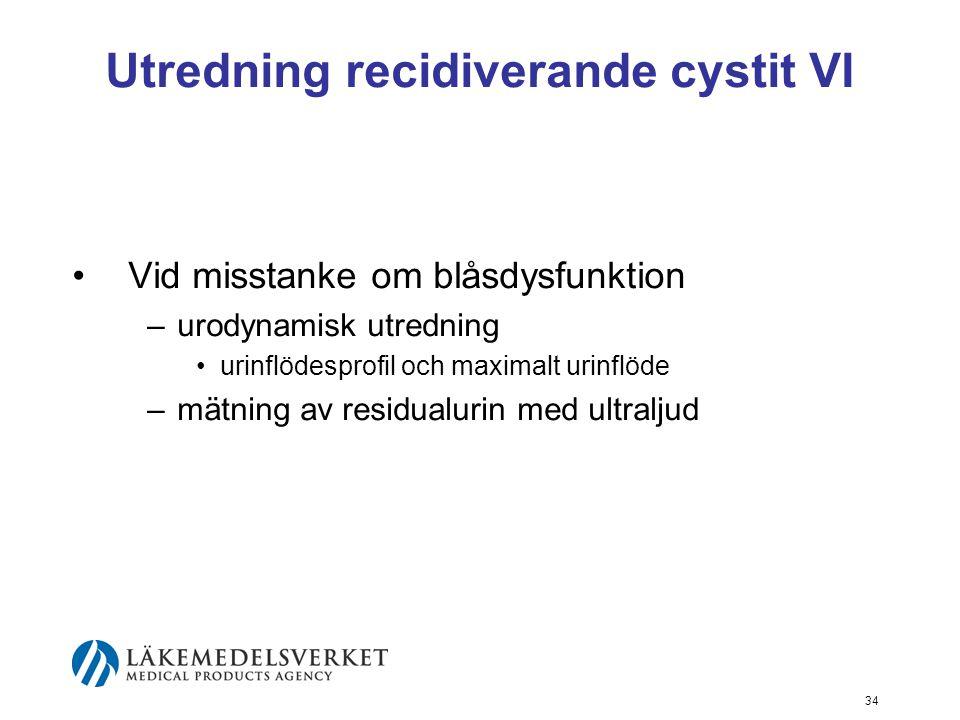 34 Utredning recidiverande cystit VI Vid misstanke om blåsdysfunktion –urodynamisk utredning urinflödesprofil och maximalt urinflöde –mätning av resid
