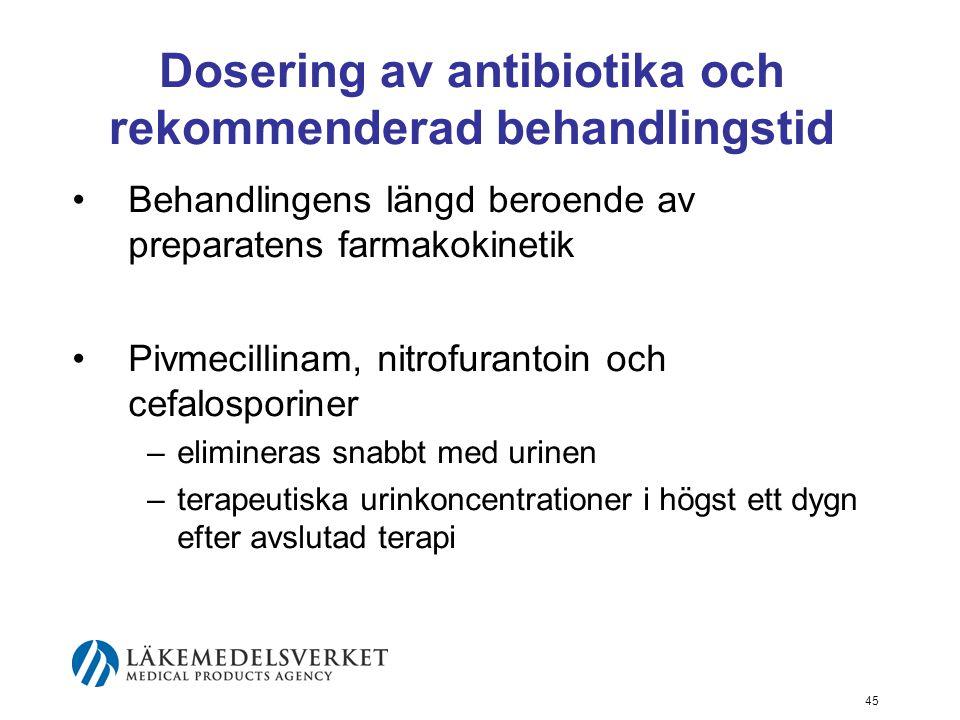 45 Dosering av antibiotika och rekommenderad behandlingstid Behandlingens längd beroende av preparatens farmakokinetik Pivmecillinam, nitrofurantoin o