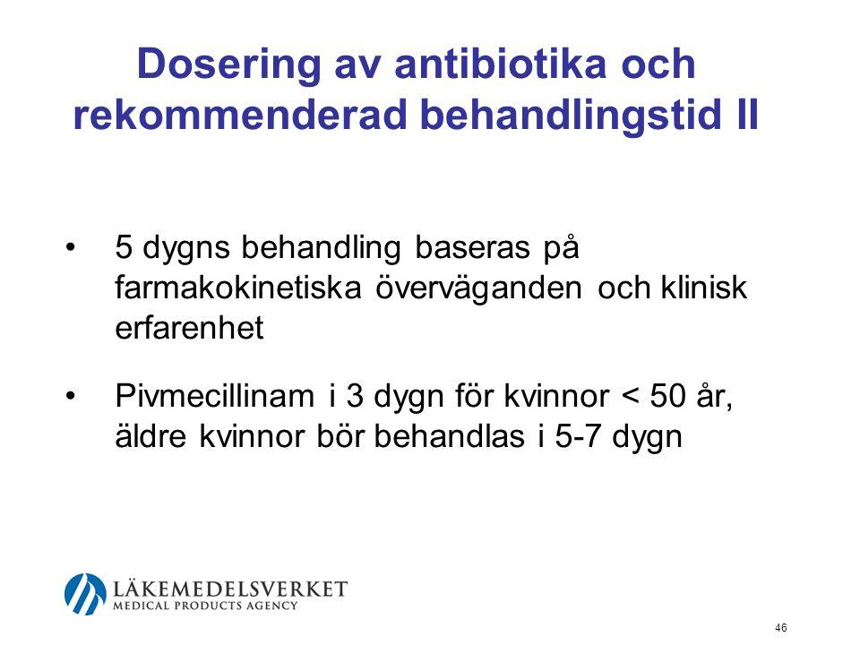 46 Dosering av antibiotika och rekommenderad behandlingstid II 5 dygns behandling baseras på farmakokinetiska överväganden och klinisk erfarenhet Pivm