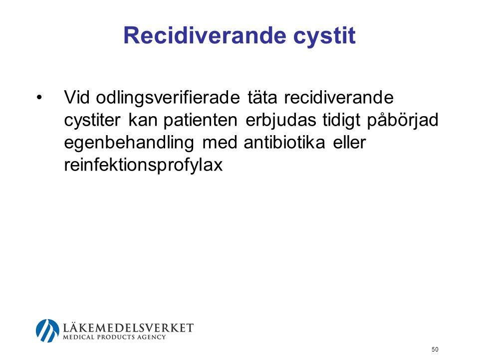 50 Recidiverande cystit Vid odlingsverifierade täta recidiverande cystiter kan patienten erbjudas tidigt påbörjad egenbehandling med antibiotika eller