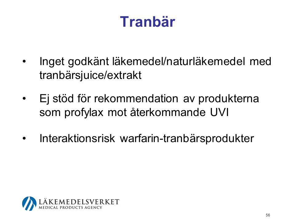 56 Tranbär Inget godkänt läkemedel/naturläkemedel med tranbärsjuice/extrakt Ej stöd för rekommendation av produkterna som profylax mot återkommande UV
