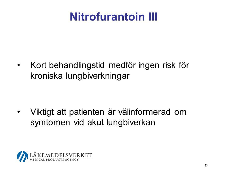 83 Nitrofurantoin III Kort behandlingstid medför ingen risk för kroniska lungbiverkningar Viktigt att patienten är välinformerad om symtomen vid akut