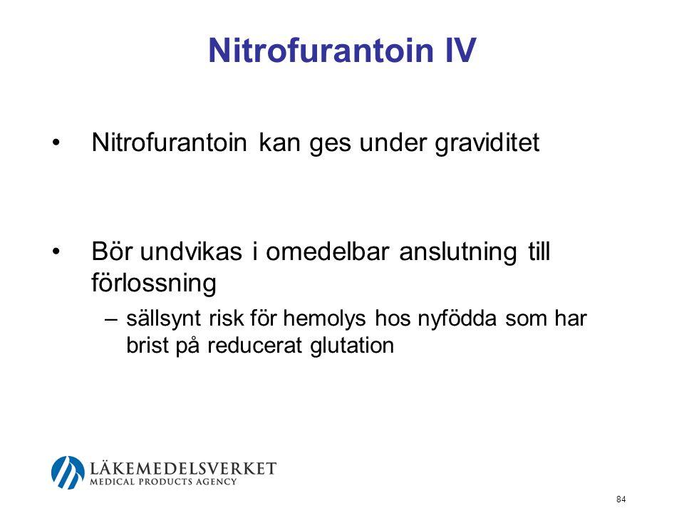 84 Nitrofurantoin IV Nitrofurantoin kan ges under graviditet Bör undvikas i omedelbar anslutning till förlossning –sällsynt risk för hemolys hos nyföd