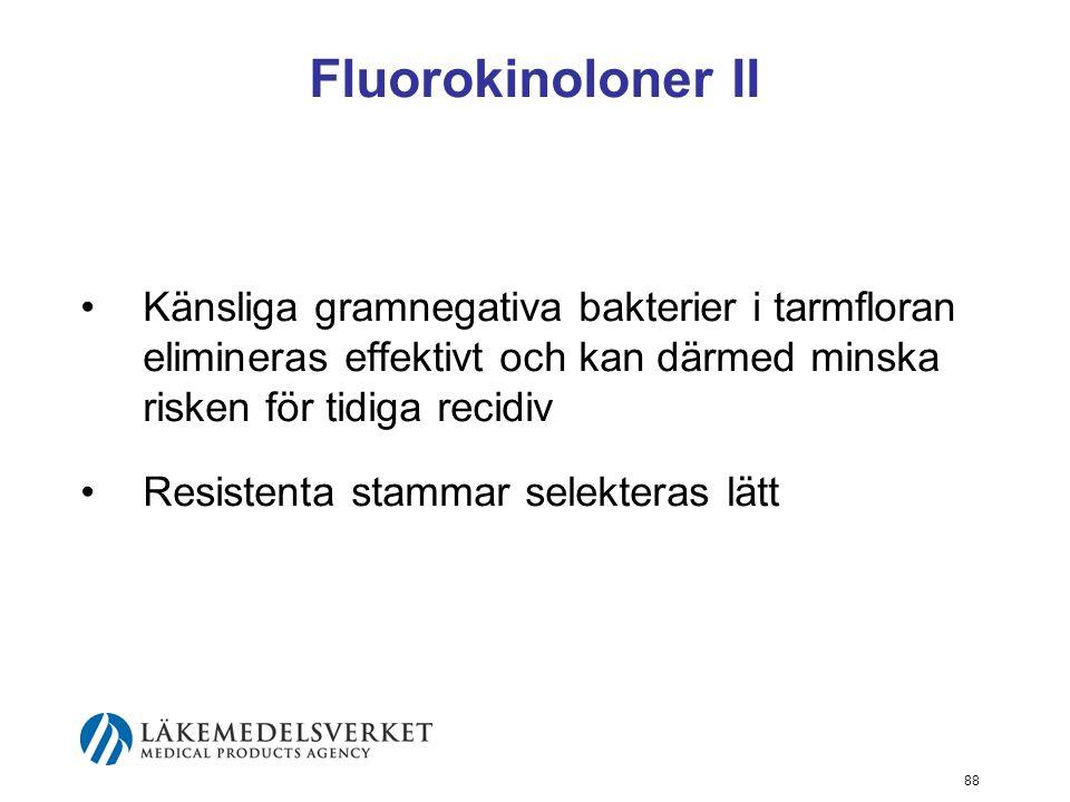 88 Fluorokinoloner II Känsliga gramnegativa bakterier i tarmfloran elimineras effektivt och kan därmed minska risken för tidiga recidiv Resistenta sta