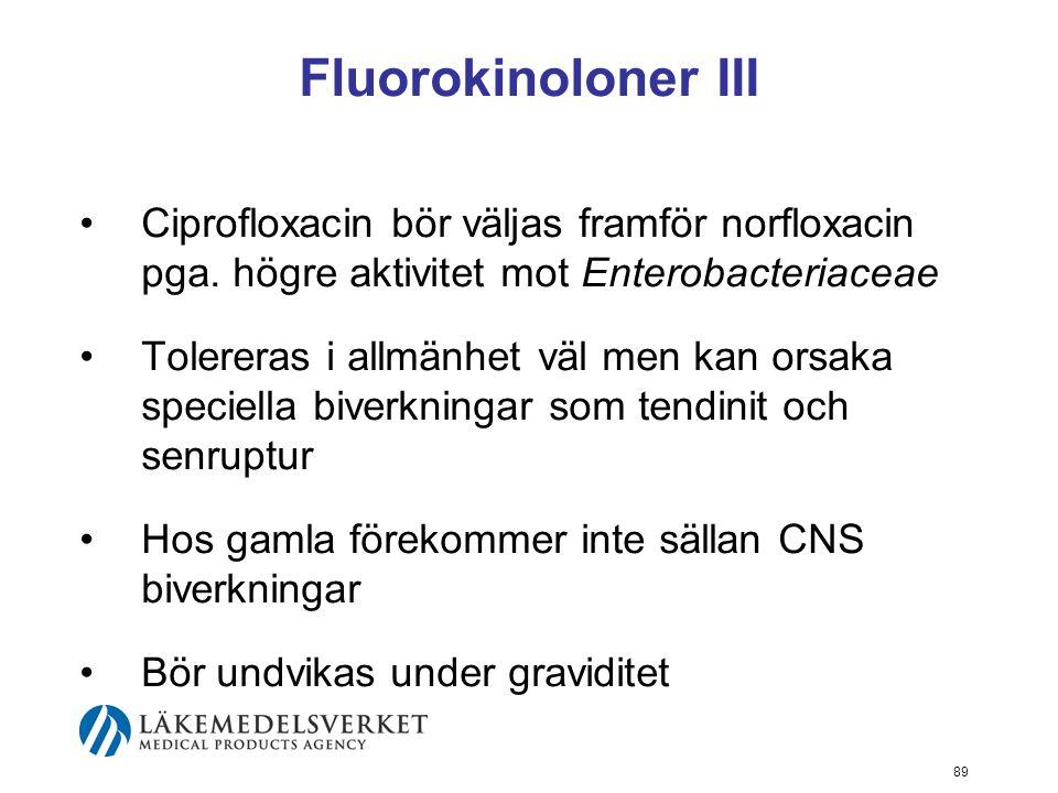 89 Fluorokinoloner III Ciprofloxacin bör väljas framför norfloxacin pga. högre aktivitet mot Enterobacteriaceae Tolereras i allmänhet väl men kan orsa