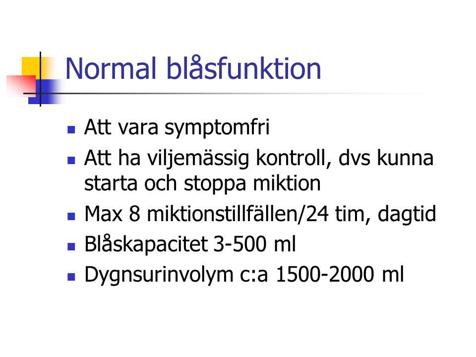 Normal blåsfunktion Att vara symptomfri Att ha viljemässig kontroll, dvs kunna starta och stoppa miktion Max 8 miktionstillfällen/24 tim, dagtid Blåsk