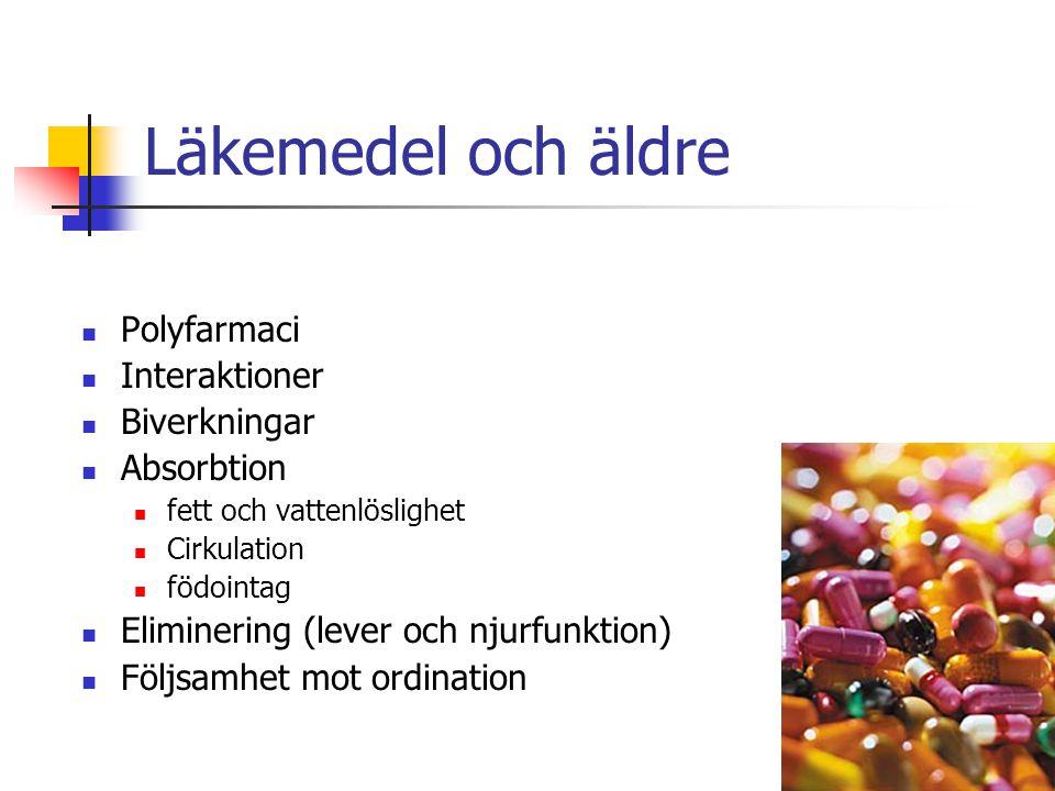 Läkemedel och äldre Polyfarmaci Interaktioner Biverkningar Absorbtion fett och vattenlöslighet Cirkulation födointag Eliminering (lever och njurfunkti