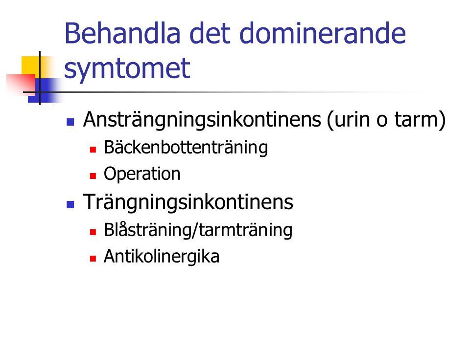 Behandla det dominerande symtomet Ansträngningsinkontinens (urin o tarm) Bäckenbottenträning Operation Trängningsinkontinens Blåsträning/tarmträning A