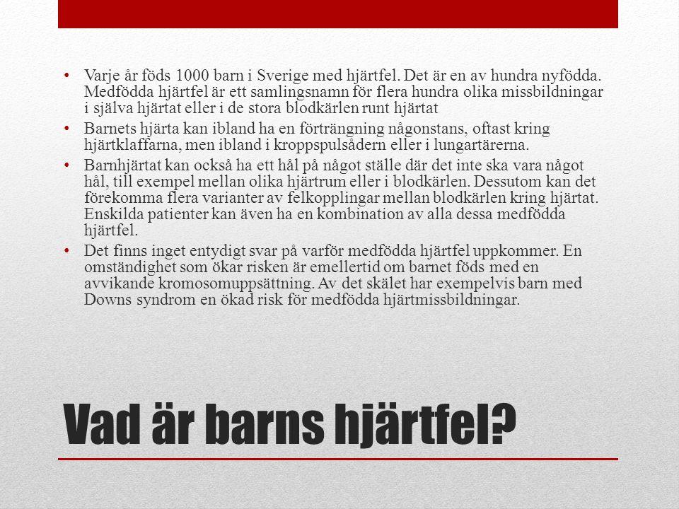 Vad är barns hjärtfel? Varje år föds 1000 barn i Sverige med hjärtfel. Det är en av hundra nyfödda. Medfödda hjärtfel är ett samlingsnamn för flera hu