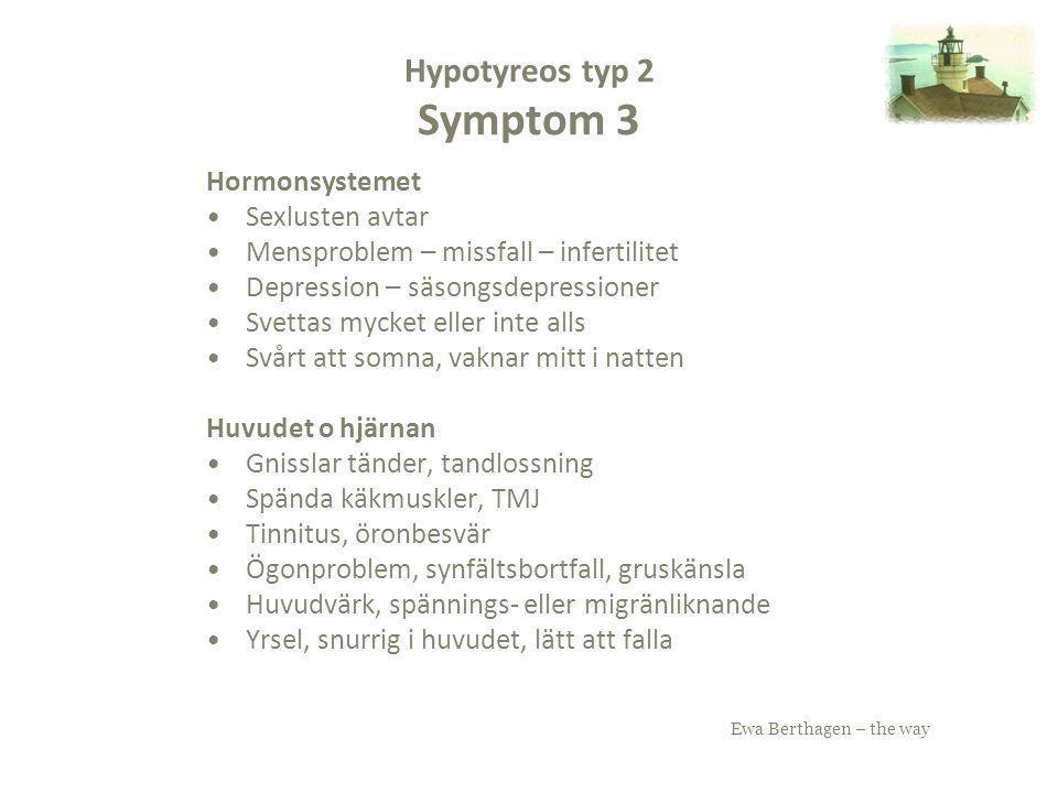 Ewa Berthagen – the way Hypotyreos typ 2 Symptom 3 Hormonsystemet Sexlusten avtar Mensproblem – missfall – infertilitet Depression – säsongsdepression
