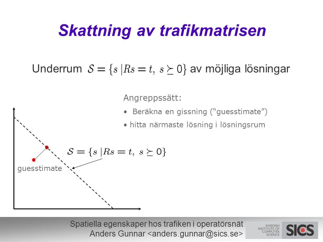 Spatiella egenskaper hos trafiken i operatörsnät Anders Gunnar Skattning av trafikmatrisen Underrum av möjliga lösningar guesstimate Angreppssätt: Ber