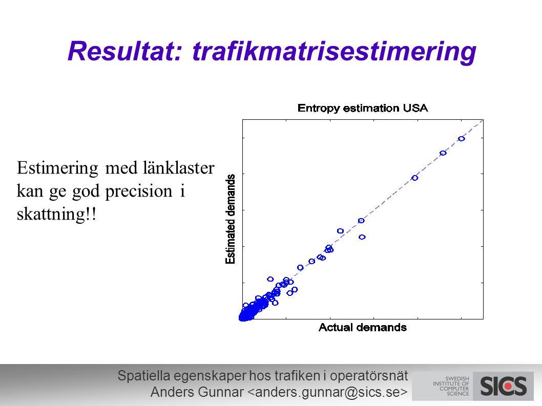 Spatiella egenskaper hos trafiken i operatörsnät Anders Gunnar Resultat: trafikmatrisestimering Estimering med länklaster kan ge god precision i skattning!!