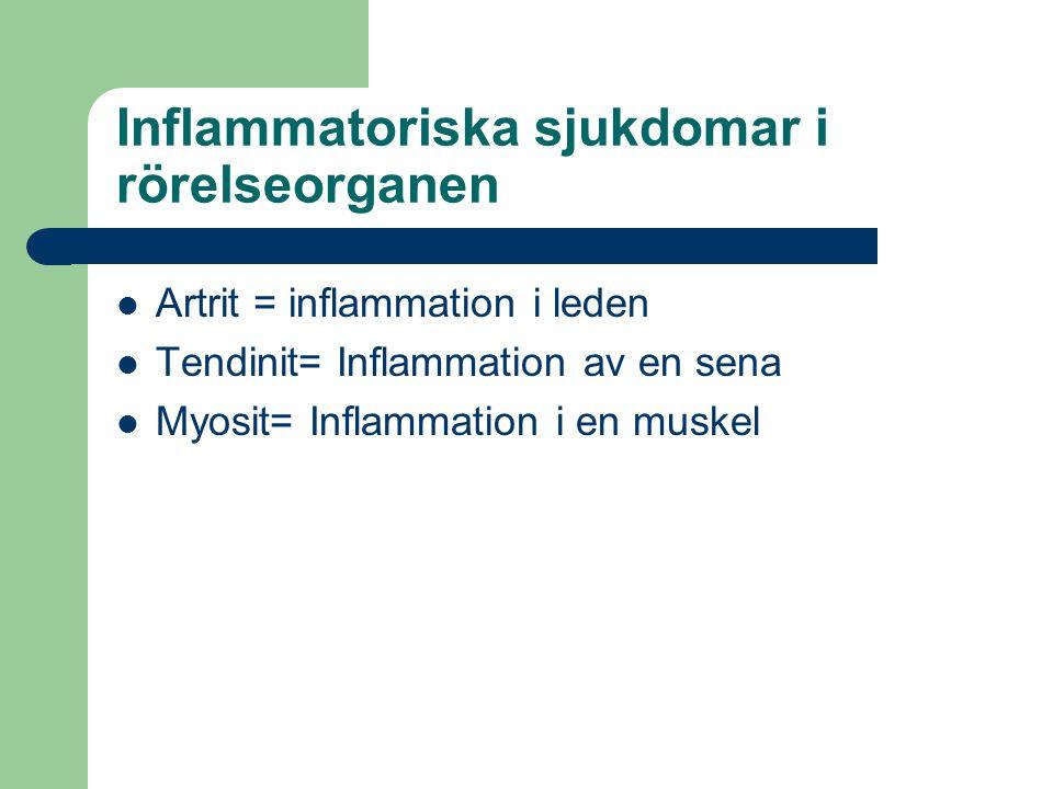 Artrit = inflammation i leden Tendinit= Inflammation av en sena Myosit= Inflammation i en muskel