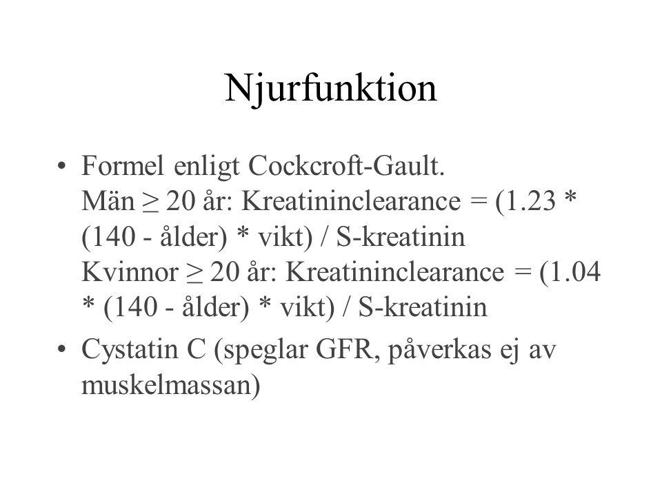 Njurfunktion Formel enligt Cockcroft-Gault. Män ≥ 20 år: Kreatininclearance = (1.23 * (140 - ålder) * vikt) / S-kreatinin Kvinnor ≥ 20 år: Kreatinincl
