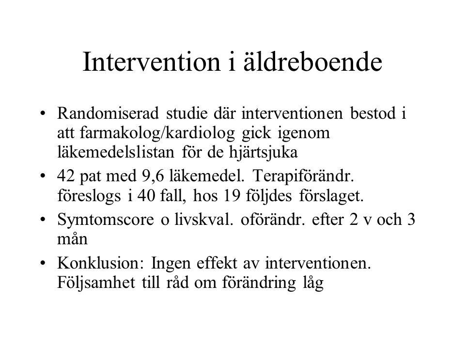 Intervention i äldreboende Randomiserad studie där interventionen bestod i att farmakolog/kardiolog gick igenom läkemedelslistan för de hjärtsjuka 42 pat med 9,6 läkemedel.
