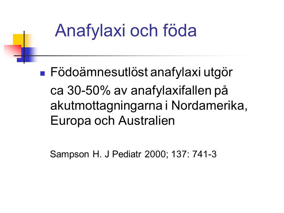 Anafylaxi och föda Födoämnesutlöst anafylaxi utgör ca 30-50% av anafylaxifallen på akutmottagningarna i Nordamerika, Europa och Australien Sampson H.