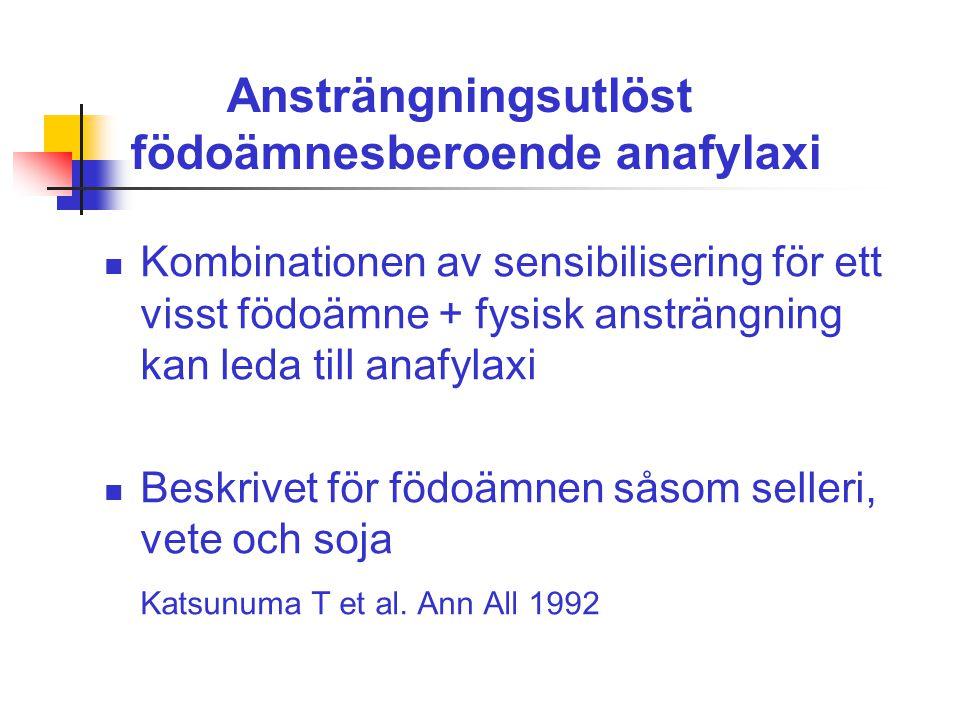 Ansträngningsutlöst födoämnesberoende anafylaxi Kombinationen av sensibilisering för ett visst födoämne + fysisk ansträngning kan leda till anafylaxi