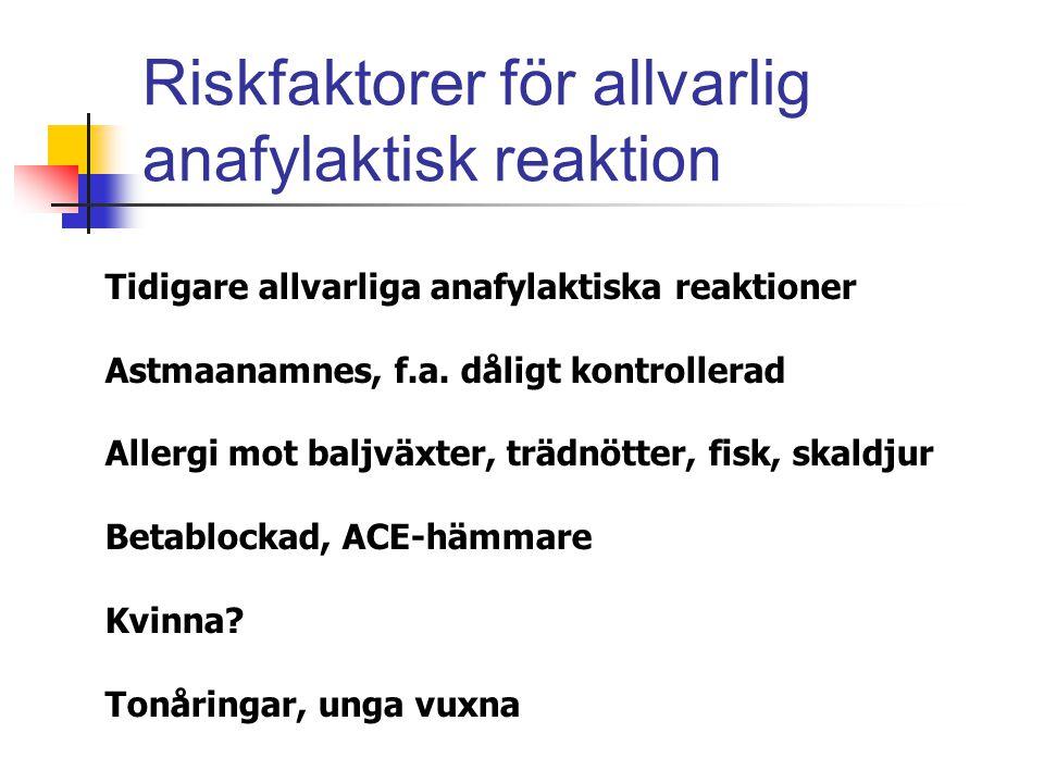 Riskfaktorer för allvarlig anafylaktisk reaktion Tidigare allvarliga anafylaktiska reaktioner Astmaanamnes, f.a. dåligt kontrollerad Allergi mot baljv