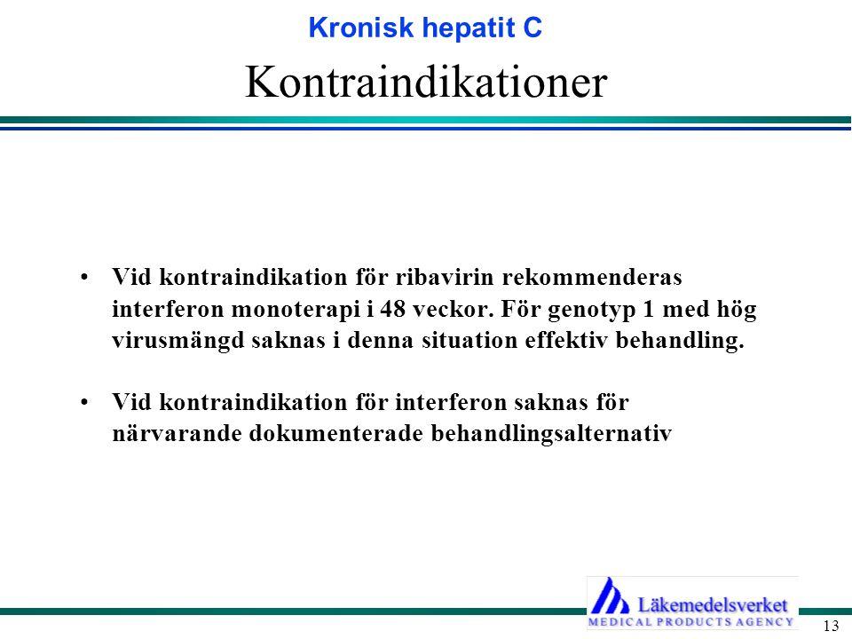 Kronisk hepatit C 13 Kontraindikationer Vid kontraindikation för ribavirin rekommenderas interferon monoterapi i 48 veckor. För genotyp 1 med hög viru