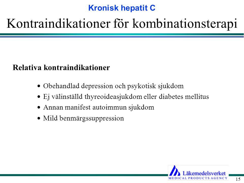 Kronisk hepatit C 15 Kontraindikationer för kombinationsterapi Relativa kontraindikationer  Obehandlad depression och psykotisk sjukdom  Ej välinstä