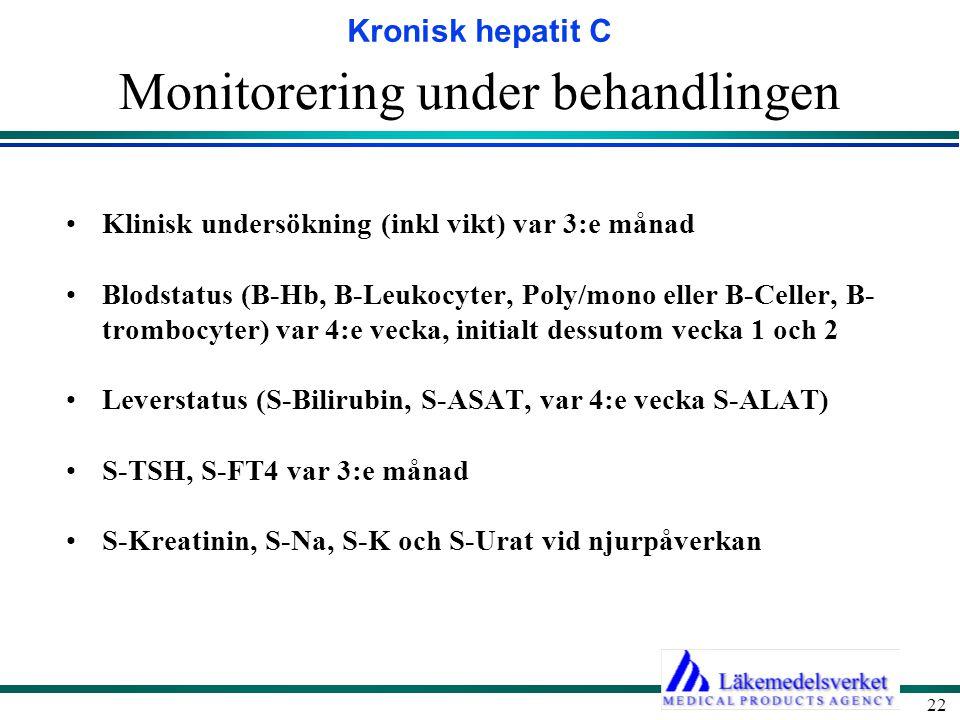 Kronisk hepatit C 22 Monitorering under behandlingen Klinisk undersökning (inkl vikt) var 3:e månad Blodstatus (B-Hb, B-Leukocyter, Poly/mono eller B-