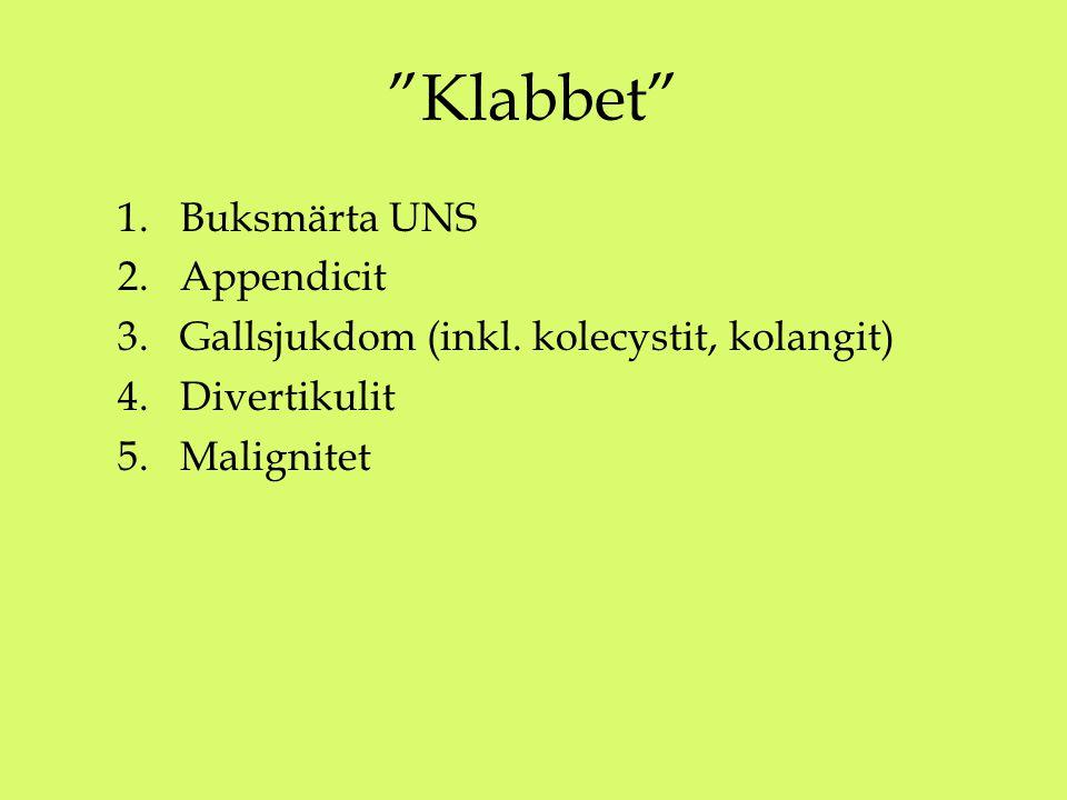 Klabbet 1.Buksmärta UNS 2.Appendicit 3.Gallsjukdom (inkl.