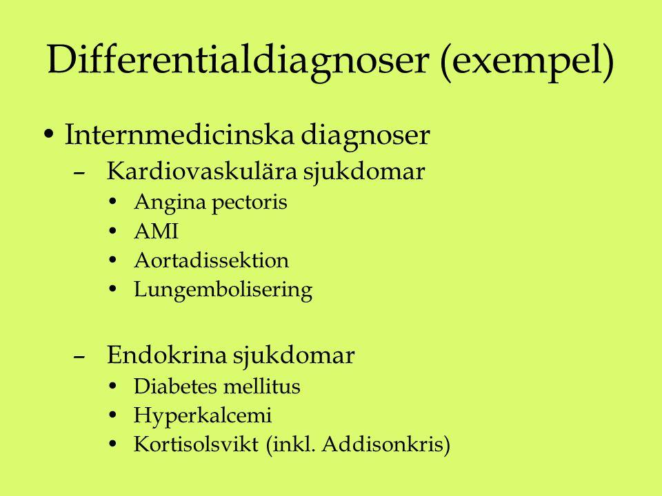Differentialdiagnoser (exempel) Internmedicinska diagnoser – Kardiovaskulära sjukdomar Angina pectoris AMI Aortadissektion Lungembolisering – Endokrina sjukdomar Diabetes mellitus Hyperkalcemi Kortisolsvikt (inkl.