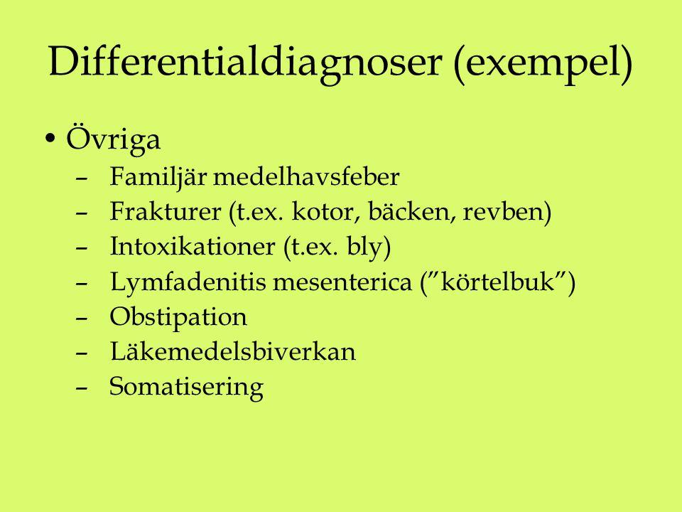 Differentialdiagnoser (exempel) Övriga – Familjär medelhavsfeber – Frakturer (t.ex. kotor, bäcken, revben) – Intoxikationer (t.ex. bly) – Lymfadenitis
