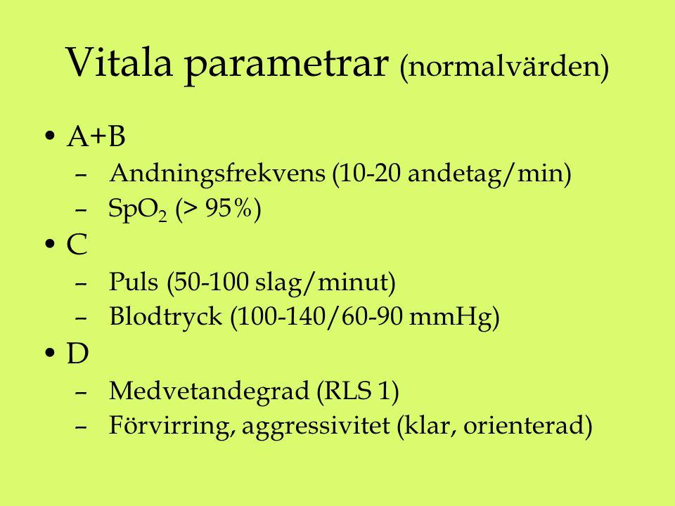A+B – Andningsfrekvens (10-20 andetag/min) – SpO 2 (> 95%) C – Puls (50-100 slag/minut) – Blodtryck (100-140/60-90 mmHg) D – Medvetandegrad (RLS 1) – Förvirring, aggressivitet (klar, orienterad) Vitala parametrar (normalvärden)