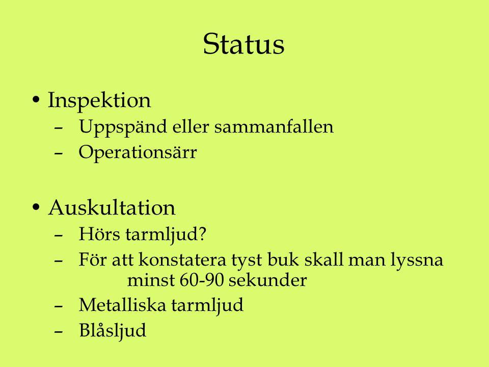 Status Inspektion – Uppspänd eller sammanfallen – Operationsärr Auskultation – Hörs tarmljud? – För att konstatera tyst buk skall man lyssna minst 60-