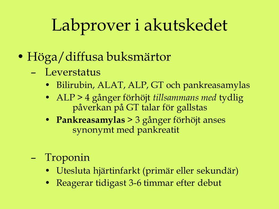 Labprover i akutskedet Höga/diffusa buksmärtor – Leverstatus Bilirubin, ALAT, ALP, GT och pankreasamylas ALP > 4 gånger förhöjt tillsammans med tydlig