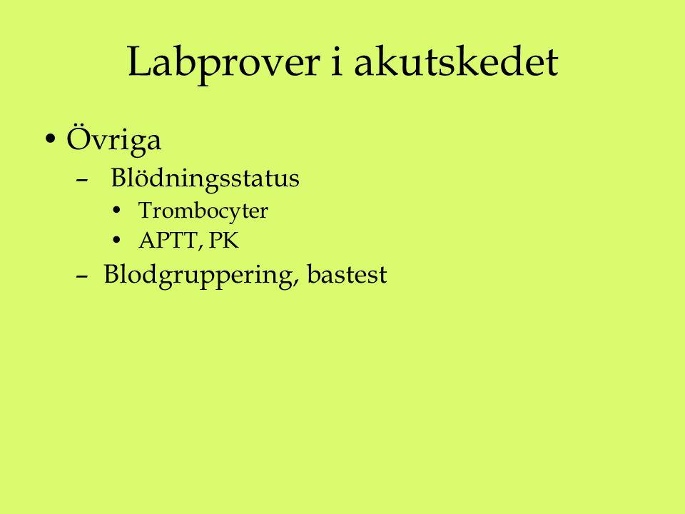 Labprover i akutskedet Övriga – Blödningsstatus Trombocyter APTT, PK – Blodgruppering, bastest
