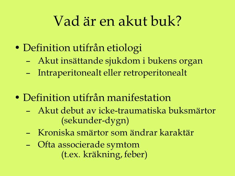 Vad är en akut buk? Definition utifrån etiologi – Akut insättande sjukdom i bukens organ – Intraperitonealt eller retroperitonealt Definition utifrån