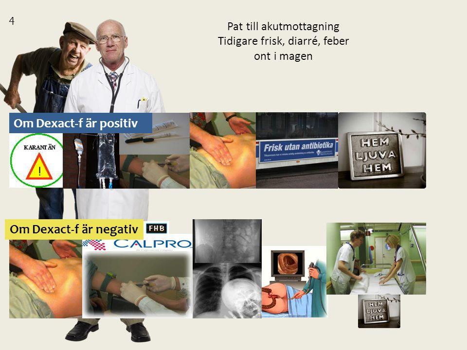 Pat till akutmottagning Tidigare frisk, diarré, feber ont i magen 4 Om Dexact-f är positiv Om Dexact-f är negativ