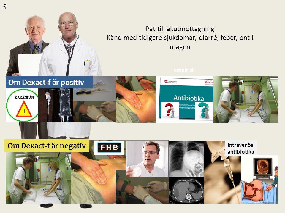 Pat till akutmottagning Känd med tidigare sjukdomar, diarré, feber, ont i magen empirisk Intravenös antibiotika 5 Om Dexact-f är positiv Om Dexact-f ä