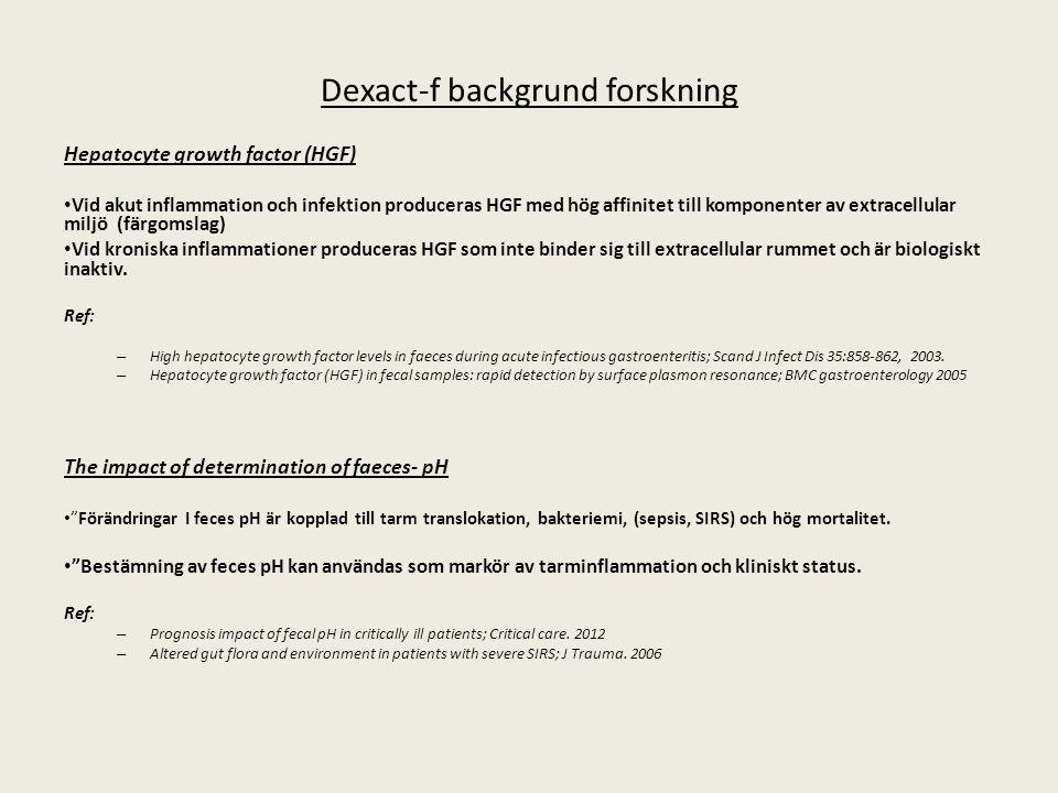 Dexact-f backgrund forskning Hepatocyte growth factor (HGF) Vid akut inflammation och infektion produceras HGF med hög affinitet till komponenter av e