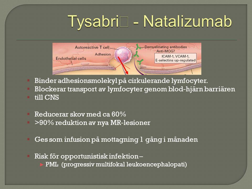  Binder adhesionsmolekyl på cirkulerande lymfocyter.