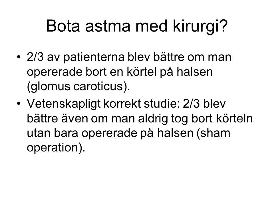 Bota astma med kirurgi? 2/3 av patienterna blev bättre om man opererade bort en körtel på halsen (glomus caroticus). Vetenskapligt korrekt studie: 2/3