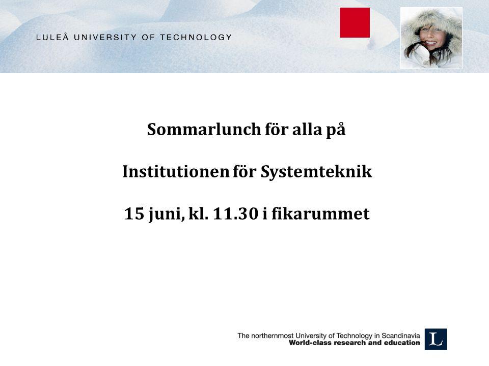 Sommarlunch för alla på Institutionen för Systemteknik 15 juni, kl. 11.30 i fikarummet