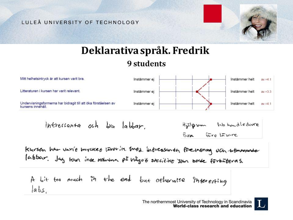 Deklarativa språk. Fredrik 9 students
