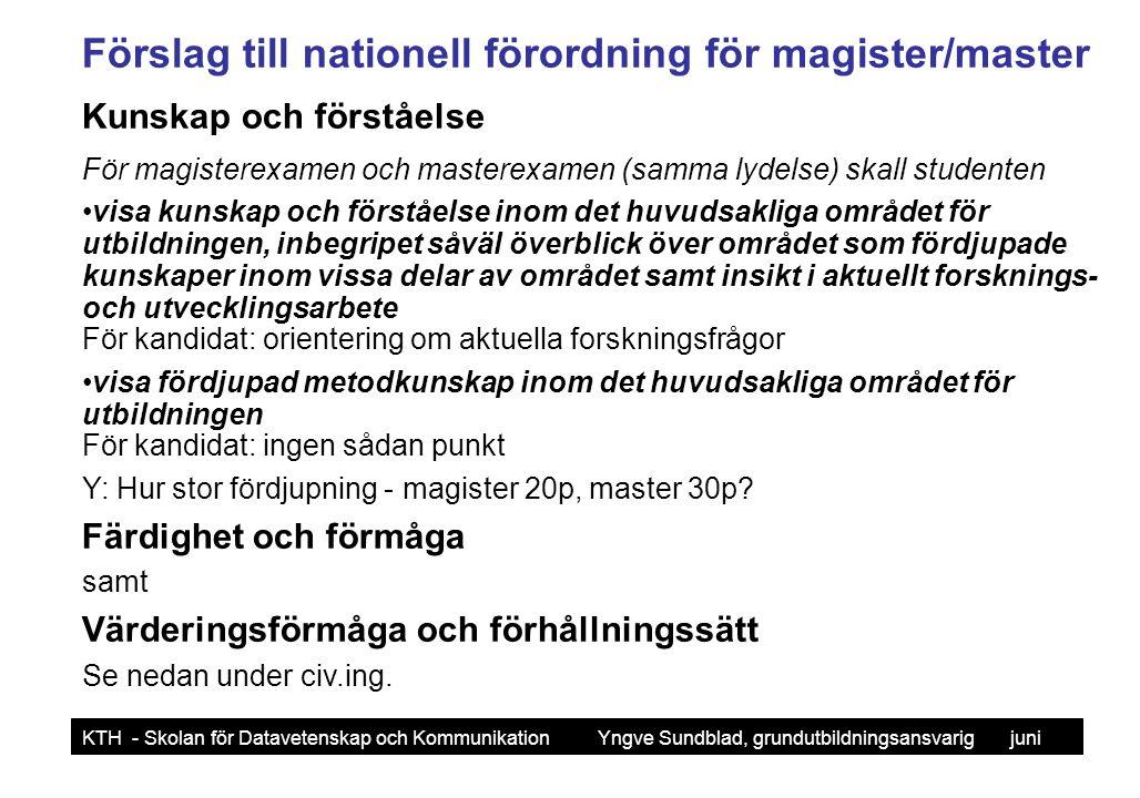 Yngve Sundblad KTH - Skolan för Datavetenskap och Kommunikation Yngve Sundblad, grundutbildningsansvarig juni 2006 Förslag till nationell förordning för civ.ing.